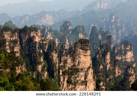 Zhangjiajie National Forest Park in the Wulingyuan Scenic Area, Hunan Province, China. - stock photo