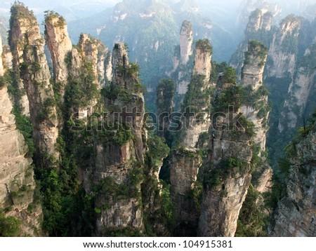 Zhangjiajie National Park in Spring, Hunan Province, China - stock photo