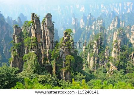 Zhangjiajie natural scenery in China - stock photo