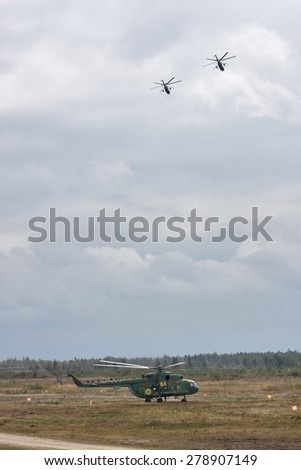 Zhitomir, Ukraine - September 29, 2010: Ukrainian Army Mi-8's Transport Helicopters during military training - stock photo