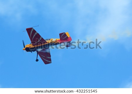 """ZHUKOVSKY, MOSCOW REGION, RUSSIA - AUG 29, 2015: A demonstration flight of the aerobatic team """"First flight"""" on Yakovlev Yak-54 plane at the International Aviation and Space salon MAKS-2015 - stock photo"""