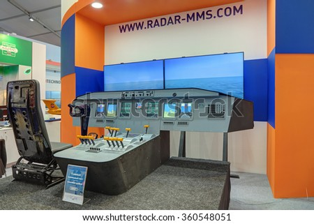 ZHUKOVSKY, MOSCOW REGION, RUSSIA - AUG 28, 2015: Modern simulator control ship - main command post, pilothouse at the International Aviation and Space salon MAKS-2015 - stock photo