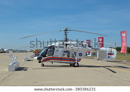 ZHUKOVSKY, MOSCOW REGION, RUSSIA - AUG 24, 2015: The helicopter Kamov Ka-226T of EMERCOM of Russia at the International Aviation and Space salon MAKS-2015 - stock photo