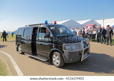ZHUKOVSKY, MOSCOW REGION, RUSSIA - AUG 25, 2015: The security car of the Federal Guard Service of the Russian Federation (FSO) at the International aviation and space salon MAKS-2015 - stock photo