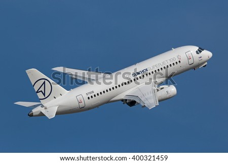 ZHUKOVSKY, MOSCOW REGION, RUSSIA - AUG 27, 2015: The Sukhoi Superjet 100 is a modern fly-by-wire twin-engine regional passenger jet at the International Aviation and Space salon MAKS-2015 - stock photo