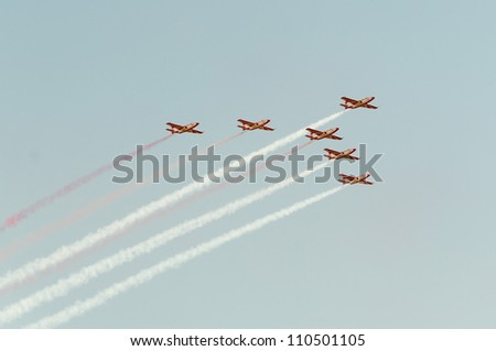 ZHUKOVSKY, MOSCOW REGION/RUSSIA - AUGUST 10: Aerobatic team Red-white sparks on PZL TS-11 Iskra aircrafts on airshow devoted to 100 anniversary of Russian Air Forces on August 10, 2012 in Zhukovsky.