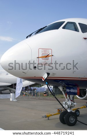 ZHUKOVSKY, MOSCOW REGION, RUSSIA - AUGUST 26, 2015: Airplane Sukhoi Superjet 100 shown at International Aerospace Salon MAKS-2015 in Zhukovsky, Moscow region, Russia.