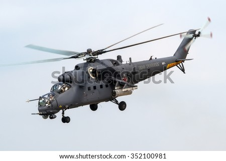 Zhukovsky, Moscow region, Russia - August 24, 2013: Russian combat helicopter Mil Mi-35 of the Russian Air Force take off at the International Aviation and Space salon MAKS-2013 - stock photo