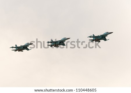 ZHUKOVSKY, MOSCOW REGION/RUSSIA - AUGUST 10: 4 Sukhoi Su-34 (Su-32, Fullback) twin-seat fighter-bomber on airshow devoted to 100th anniversary of Russian Air Forces on August 10, 2012 in Zhukovsky.