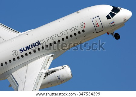 ZHUKOVSKY, MOSCOW REGION, RUSSIA - AUGUST 22, 2015: Sukhoi Superjet 100 perfoming demonstration flight in Zhukovsky during MAKS-2015 airshow.