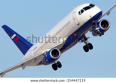ZHUKOVSKY, MOSCOW REGION, RUSSIA - FEBRUARY 28, 2014: Sukhoi Superjet-100 RF-89151 of Ministry of the Interior of Russia performing test flight in Zhukovsky.