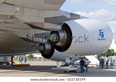 ZHUKOVSKY, RUSSIA - AUG 19: A380 aircraft jet engine at International aviation and space salon MAKS 2011 on August 19, 2011 in Zhukovsky, Russia - stock photo
