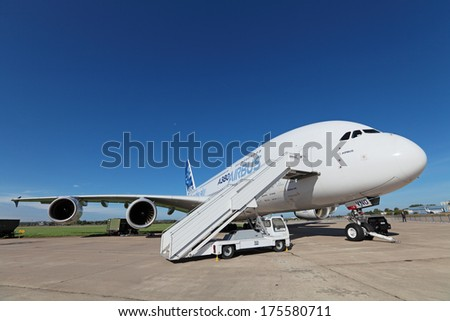 ZHUKOVSKY, RUSSIA - AUG 26, 2013: Airbus A380 - wide-body two-decked passenger airliner at the International Aviation and Space salon MAKS-2013