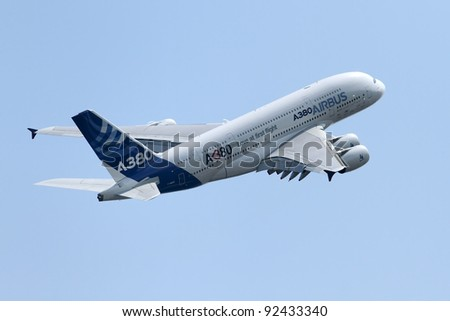 ZHUKOVSKY, RUSSIA - AUG 14: An Airbus A380 performs at the International Aviation and Space salon MAKS on Aug. 14, 2011 at Zhukovsky, Russia - stock photo
