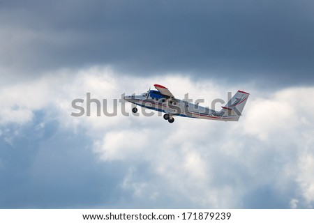 ZHUKOVSKY, RUSSIA-AUG 28, 2013: Demonstration flight De Havilland Canada Viking DHC-6 400  Twin Otter - twin-engine turboprop passenger aircraft at the International Aviation and Space salon MAKS-2013