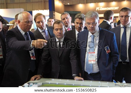 ZHUKOVSKY, RUSSIA - AUG 27: Dmitry Medvedev at the International Aviation and Space salon MAKS. Aug, 27, 2013 at Zhukovsky, Russia