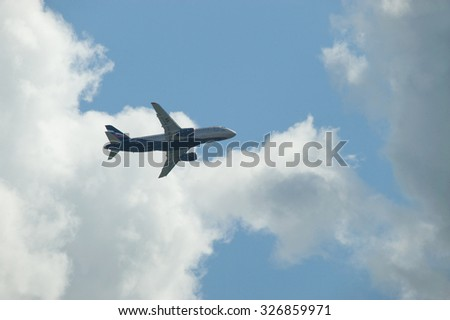 ZHUKOVSKY, RUSSIA - AUG 26, 2013: International aviation and space salon MAKS-2013, the span of the new Russian passenger aircraft Sukhoi Superjet 100