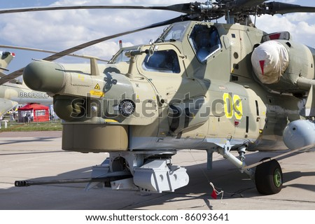 ZHUKOVSKY, RUSSIA - AUG 19: Mi-28 military helicopter is on display at the MAKS airshow on Aug 19, 2011 in Zhukovsky, Russia.