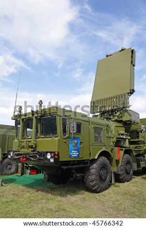 "ZHUKOVSKY, RUSSIA - AUG 19: Missile ""S-300 Favorit"" on display at International aviation and space salon MAKS 2009 on August 19, 2009 in Zhukovsky, Russia"