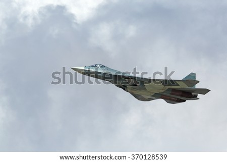 ZHUKOVSKY, RUSSIA - AUG 30, 2015: Sukhoi PAK FA T-50 (Prospective Airborne Complex of Frontline Aviation) fifth-generation jet fighter at the International Aviation and Space salon MAKS-2015 - stock photo