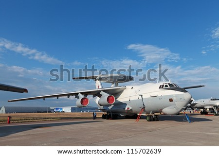 ZHUKOVSKY, RUSSIA - AUG 11: The celebrating of the 100 anniversary of Russian air force. August, 11, 2012 at Zhukovsky, Russia. The Beriev A-50 (Mainstay) is a airborne warning and control system