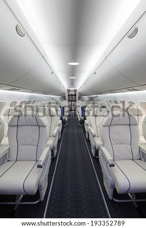 ZHUKOVSKY, RUSSIA - AUG 29, 2013: The Irkut MS-21 - passenger promising Russian jet airliner developed and to be produced by Irkut at the International Aviation and Space salon MAKS-2013 - stock photo