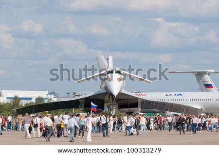 ZHUKOVSKY, RUSSIA - AUG 19: The Tupolev Tu-144 Soviet supersonic aircraft, similar to the concord on display at International aviation and space salon MAKS 2011 on August 19, 2011 in Zhukovsky, Russia - stock photo