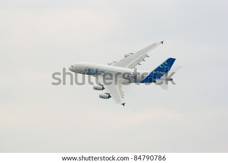 ZHUKOVSKY, RUSSIA - AUGUST 20: Airbus A380, the world's largest passenger airliner, flies during MAKS-2011 airshow on August 20, 2011 in Zhukovsky, Russia - stock photo