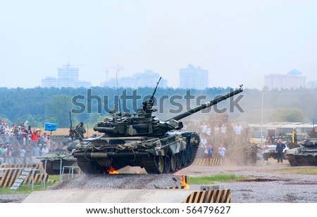 ZHUKOVSKY, RUSSIA - JULY 3: T-80 tank jumps from the ramp on the Forum ET-2010 on July 03, 2010 in Zhukovsky, Russia
