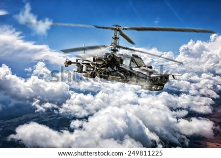 "ZHUKOVSKY, RUSSIA - JULY 20, 2012: The Kamov Ka-50 ""Black Shark"" combat helicopter shown at  International aviation and space salon MAKS. - stock photo"