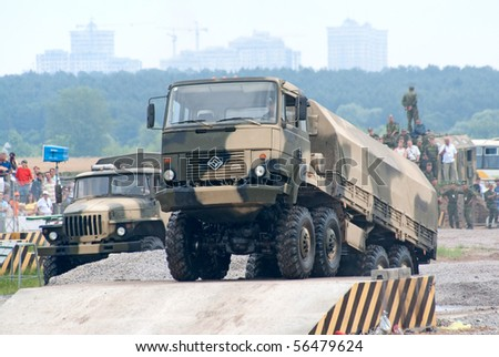 ZHUKOVSKY, RUSSIA - JULY 3: URAL military 8x8 truck climbs over an obstacle on the Forum ET-2010 on July 03, 2010 in Zhukovsky, Russia