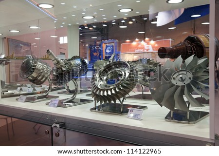 "ZHUKOVSKY, RUSSIA - JUN 29: The international salon of arms and military technology ""Engineering technologies 2012"" on Jun 29, 2012 in Zhukovsky. The details of the aircraft engines"