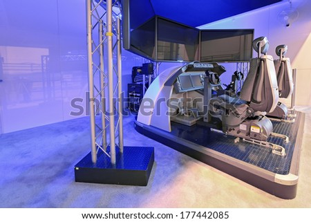 ZHUKOVSKY, RUSSIA - SEP 01, 2013: The aircraft simulator Boeing company at the International Aviation and Space salon MAKS-2013