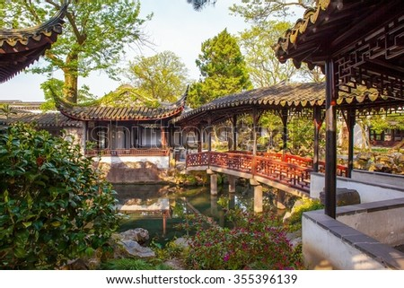 Zhuozhengyuan Park scene- Small Feihong. The Park is one of Chinese classical gardens in Suzhou City. Suzhou is one of the old water-towns in China.  - stock photo