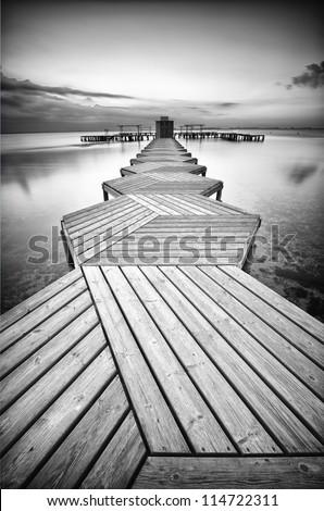 Zig Zag dock in black and white - stock photo