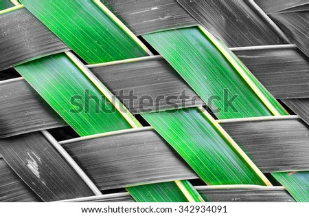 Zigzag interlocking of coconut leaves - stock photo
