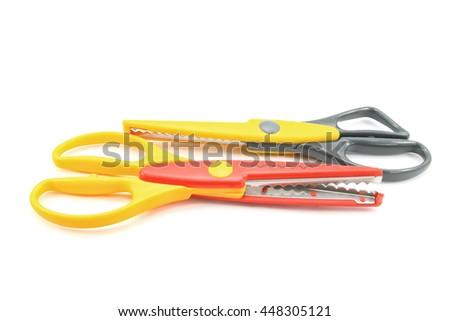 Zigzag scissors isolated on white background - stock photo