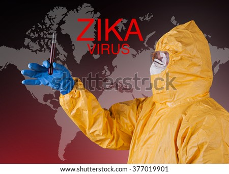 Zika virus concept, medical worker in protective clothes.  - stock photo