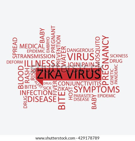 Zika virus tag cloud in many languages - stock photo