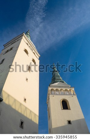 Zilina, Slovak Republic,Church of the Holy Trinity Two towers - stock photo