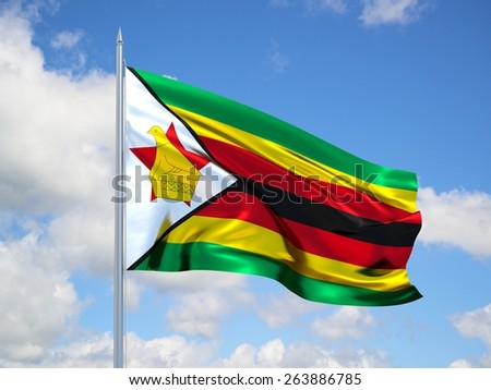 Zimbabwe 3d flag floating in the wind. 3d illustration.