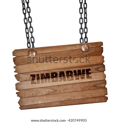 zimbabwe, 3D rendering, wooden board on a grunge chain