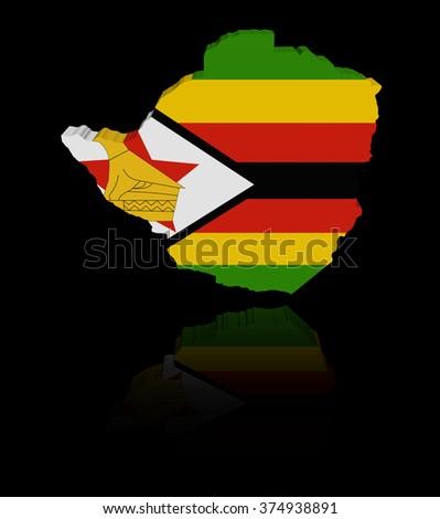 Zimbabwe map flag with reflection illustration - stock photo