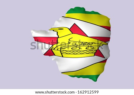 Zimbabwe's flag super embossed on map - stock photo