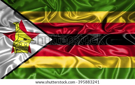 Zimbabwe silk flag - stock photo