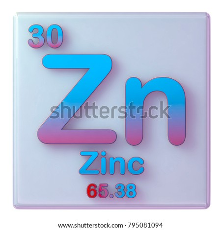 Zinc Chemical Element Number 30 Periodic Stock Illustration