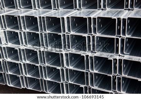 Zinc coat steel C profiles at bundle - stock photo