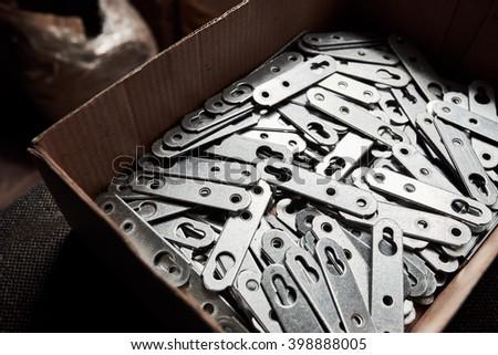 Zinc Plated Metal Holder Cupboard, Shelves - stock photo
