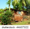 zinc roof sheet metal construction architecture native house with coconut tree and flowers in rural jungle corn island nicaragua central america - stock photo