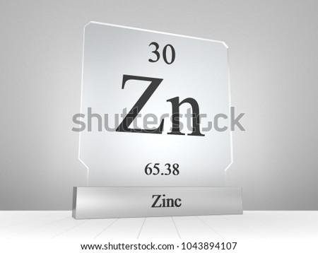 Zinc Symbol On Modern Glass Metal Stock Illustration 1043894107